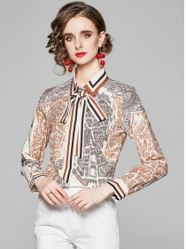 Wholesale Europe Tie Collar Printings Long Sleeve Blouse