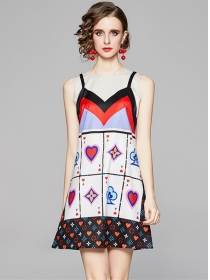 Europe Stylish Color Block Poker Prints Tank A-line Dress
