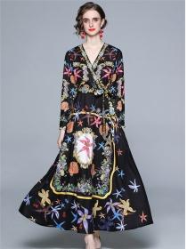 Retro Fashion Tie High Waist V-neck Flowers Maxi Dress