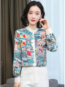 Lovely Wholesale Buttons Open Printings Loosen Blouse
