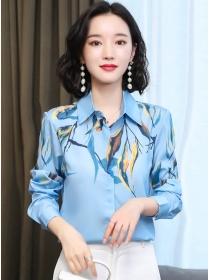 Retro Spring Shirt Collar Flowers Long Sleeve Blouse