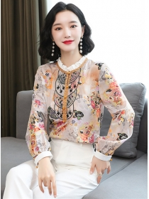 Wholesale Spring Lace Collar Flowers Puff Sleeve Blouse