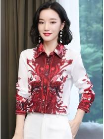 Fashion Korea Flowers Shirt Collar Long Sleeve Blouse