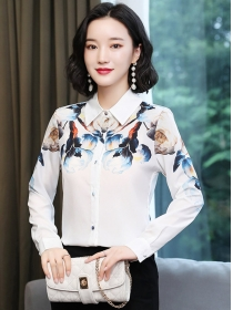 Wholesale Stylish Flowers Shirt Collar Loosen Blouse