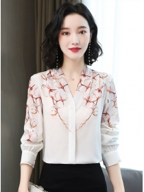Pretty Fashion V-neck Flowers Chiffon Long Sleeve Blouse