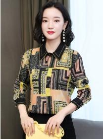 Retro Korea Shirt Collar Color Block Long Sleeve Blouse