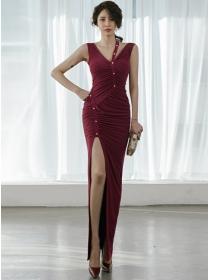 Sexy Wholesale V-neck Pleated Split Skinny Long Dress