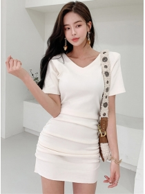 Wholesale Korea V-neck Pleated Short Sleeve Cotton Dress