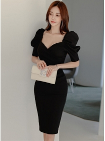 Grace Fashion Square Collar Puff Sleeve Bodycon Dress