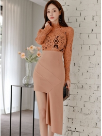Retro Spring Lace Hollow Out Splicing High Waist Slim Dress
