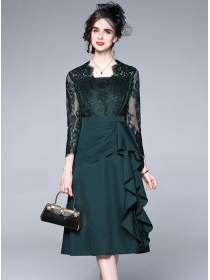 Spring Grace 2 Colors Lace Splice Flouncing A-line Dress