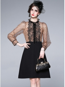 Fashion Lady Lace Splicing Dots Puff Sleeve A-line Dress
