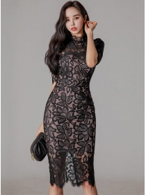 Spring Fashion 2 Colors Lace Flowers Bodycon Dress