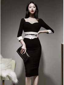 Modern Lady Color Block High Waist Square Collar Slim Dress