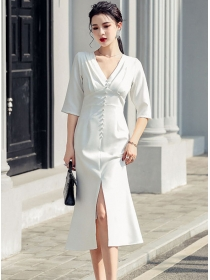 Spring Fashion Single-breasted V-neck Fishtail Slim Dress
