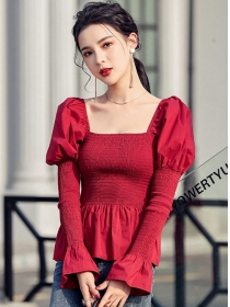 Korea Wholesale Puff Sleeve Elastic Flouncing Blouse