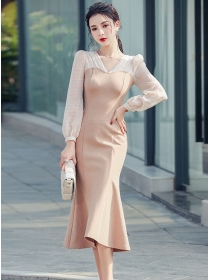 Fashion Lady V-neck High Waist Fishtail Slim Dress