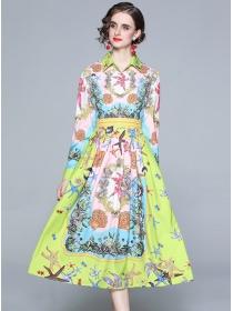Retro Fashion Shirt Collar High Waist Flowers Long Dress