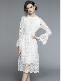 Europe Stylish Flare Sleeve Lace Hollow Out Dress