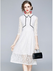 Spring New Arrive Doll Collar Flowers Lace A-line Dress