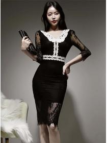 Retro Spring Color Block Lace Doll Collar Slim Dress