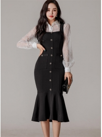Modern Lace Blouse with Single-breasted Fishtail Straps Dress