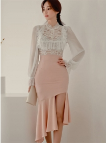 Grace New Flouncing Chiffon Blouse with Fishtail Skinny Skirt