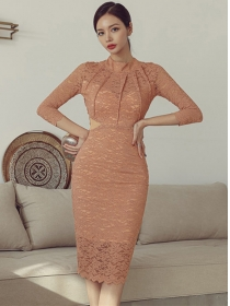 Sexy Charming Tie Backless High Waist Lace Skinny Dress