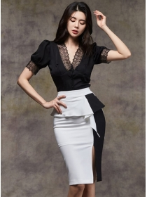 Elegant Lady Lace V-neck Blouse with Color Block Midi Skirt