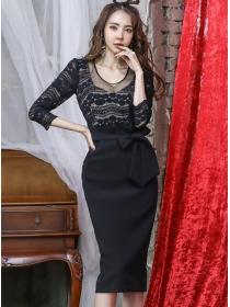 Sexy Korea Lace Round Neck Tie Waist Bodycon Dress