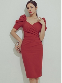 Elegant Lady Puff Sleeve Pleated High Waist Slim Dress