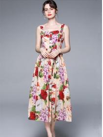 Europe Charm Rhinestones Buttons Straps Flowers Long Dress