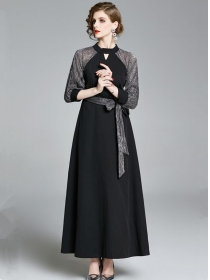 Retrp Europe Tie High Waist Raglan Sleeve Maxi Dress