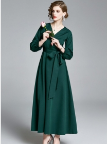 Vogue Lady Tailored Collar High Waist Maxi Dress