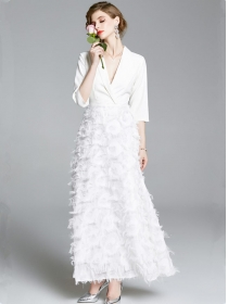 Grace Lady Tailored Collar High Waist Feathers Long Dress