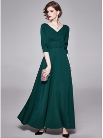 Retro Wholesale High Waist V-neck Slim Long Dress