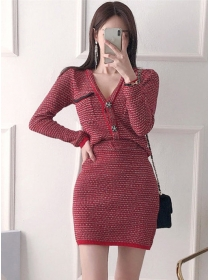 Spring Fashion Buttons V-neck Knitting Two Pieces Dress