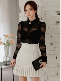 Elegant Lady Lace Transparent Blouse with Pleated Short Skirt