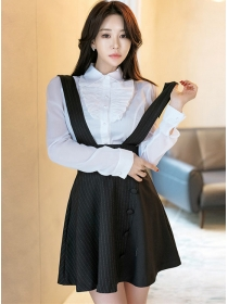 Spring New Flouncing Blouse with Stripes Straps Skirt