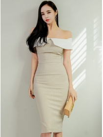Modern OL Boat Neck Fitted Waist Bodycon Tank Dress