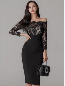Wholesale Korea Lace Boat Neck Splicing Slim Dress