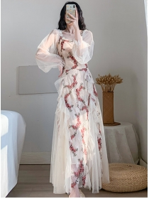 Pretty Spring Flowers Embroidery Fluffy Gauze Long Dress