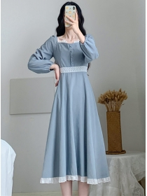 Wholesale Fashion Square Collar High Waist Long Dress