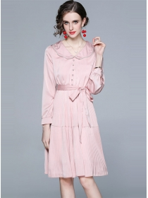 Elegant Lady Doll Collar Tie Waist Pleated Dress