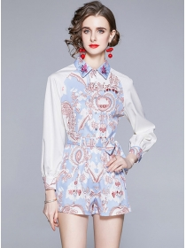 Charming Europe Tie Waist Flowers Puff Sleeve Short Suits
