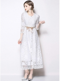 Grace Fashion Tie Waist Lace Flowers Maxi Dress