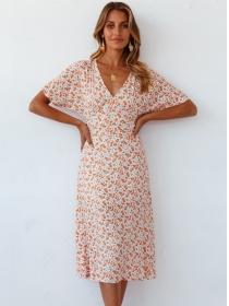 Spring New V-neck Elastic Waist Flowers Dress