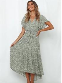 Summer Fashion Tie Waist V-neck Flowers Long Dress