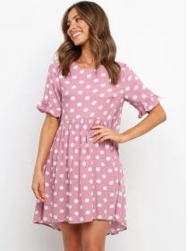 Simple Fashion Round Neck Dots Loosen A-line Dress