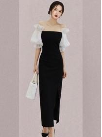 Grace Lady Boat Neck Puff Sleeve Bodycon Dress